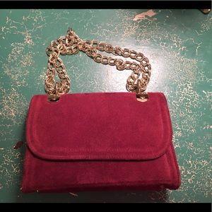 Handbags - Burgundy Suede Clutch With Chain Strap